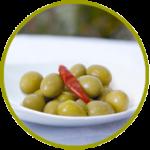Aceituna española Gordal con hueso aderezada en salmuera