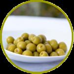 Aceituna española manzanilla verde con hueso aderezada en salmuera