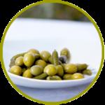 Aceituna española manzanilla verde deshuesada rellena de pepinillo agridulce y aderezada en salmuera