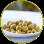 Aceituna española manzanilla verde deshuesada y aderezada en salmuera